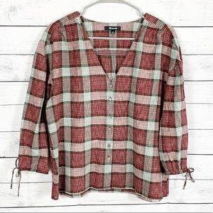 Madewell Morning View Plaid Tie Sleeve Blouse